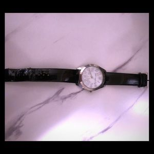 Betsey Johnson Black Patent Leather Watch